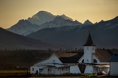 Early Morning Mount Baker and the Edison Lutheran Church