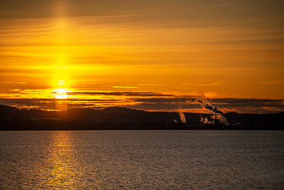 Light Pillar and Sunset with Anacortes Refinery - 0007