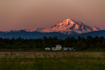 Mount Baker Alpenglow and Farmhouse