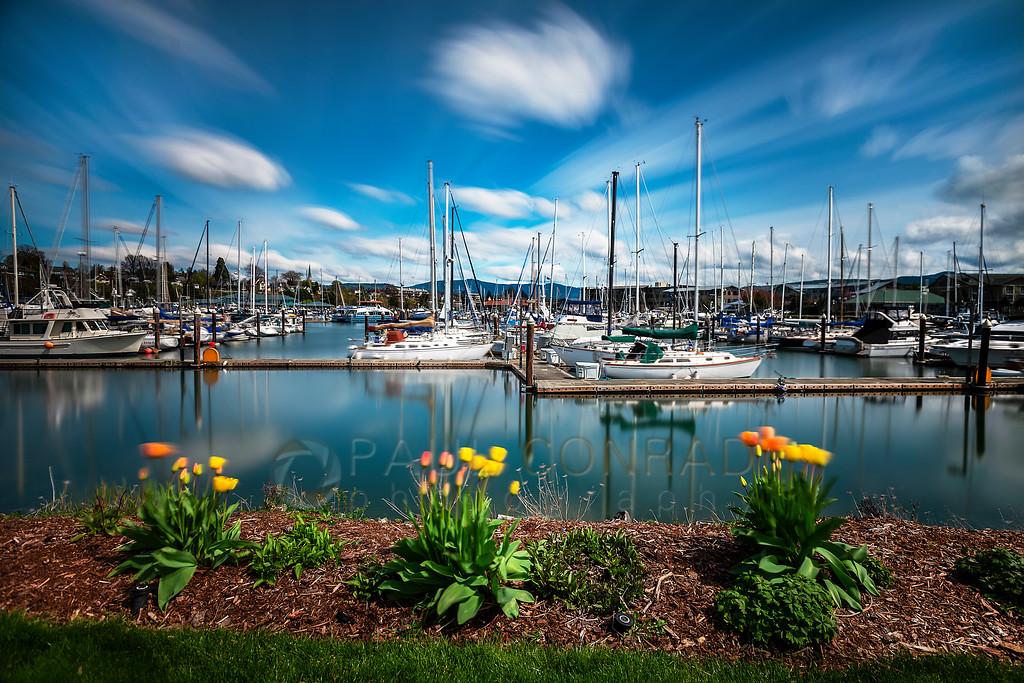 Long Exposure of Squalicum Harbor - A 4 minute exposure of Squalicum Harbor on Monday afternoon April 14, 2019, in Bellingham, Wash.  (Photo © 2019 Paul Conrad/Paul Conrad Photography)