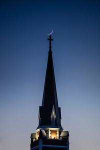 Day Old Crescent Moon Above Church of the Assumption