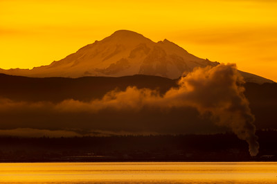 Sunrise with Mount Baker and Power Plant