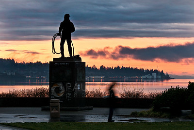© Paul Conrad/ Pablo Conrad Photography - A pedestrian passes the Safe Return memorial during their morning walk at Zuanich Park in Bellingham, Wash., on Thursday Dec 26, 2013.