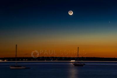 Day Old Crescent Moon Over Bellingham Bay