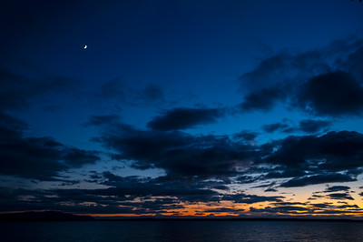 Moon Over Bellingham Bay at Sunset