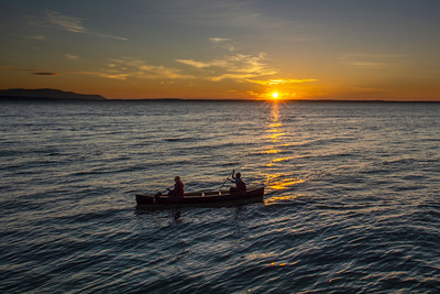 Canoeing  in Bellingham Bay at Sunset