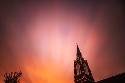 Sunset Over Steeple - 4 Second Exposure