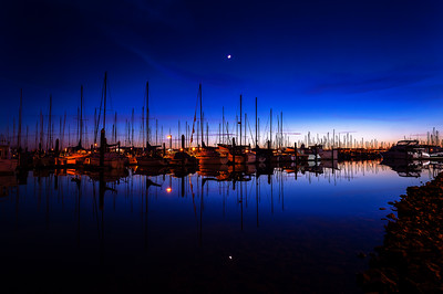 Crescent Moom Over Squalicum Harbor