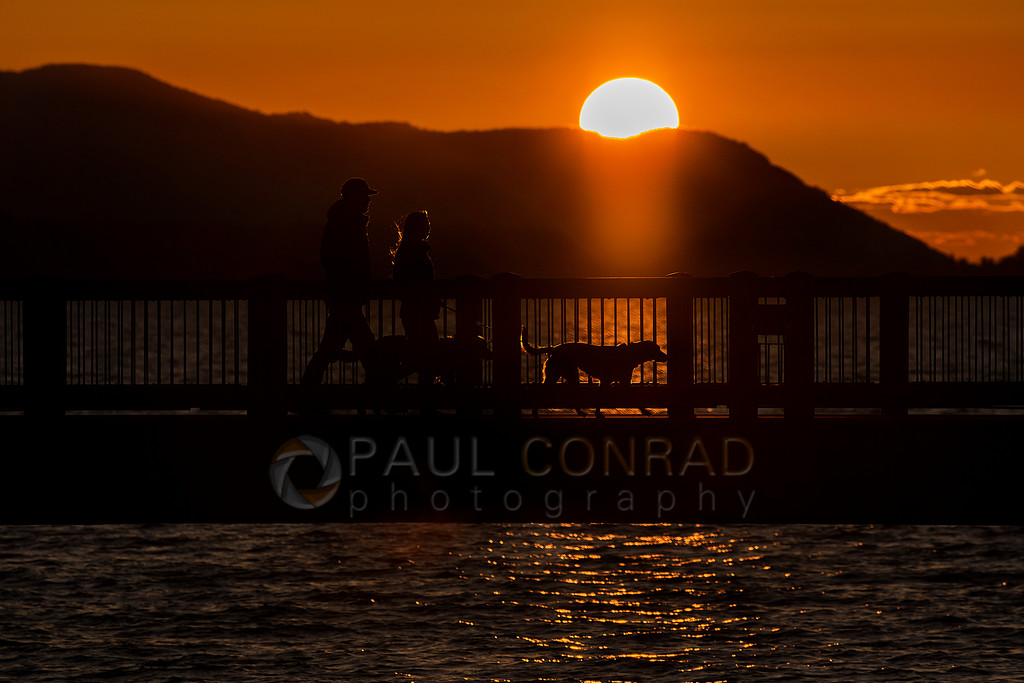 Sunset Silhouette - A couple and their dogs are silhouetted against the setting Sun as they walk along the Boardwalk at Boulevard Park on Saturday evening March 9, 2019, in Bellingham, Wash. (photo © 2019 Paul Conrad/Paul Conrad Photography)