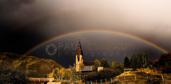 © 2008 Paul Conrad/Sky Fire Photography A double rainbow is seen over the Aspen Chapel after a rain storm passes Aspen, Colorado.   Send Me Your Thoughts and Questions