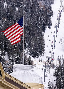 © 2008 Paul Conrad/Sky Fire Photography The U.S. flag flaps in the breeze on top of the Elks Building in Aspen, Colorado.   Send Me Your Thoughts and Questions