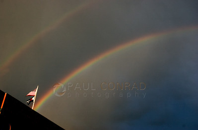 © 2008 Paul Conrad/Sky Fire Photography Gold at the end of the rainbow? A rainbow seems to end a the flags atop the Hotel Jerome after storm passes Aspen, Colorado.   Send Me Your Thoughts and Questions