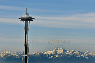 A rare sight. The Space Needle and the Olympic Range on a clear Friday morning New Year's  Eve on December 31, 2010, in Seattle, Wa.