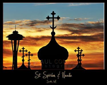 St. Spiridon & Space Needle at Sunset