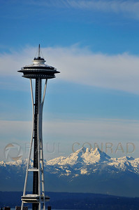 © Paul Conrad/Pablo Conrad Photography A rare sight, the Space Needle against the Olympic Range on a clear day.