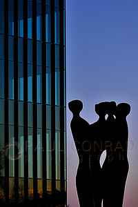 © Paul Conrad/Pablo Conrad Photography A statue in silhouette against the sky after sunset in Seattle, Wash.