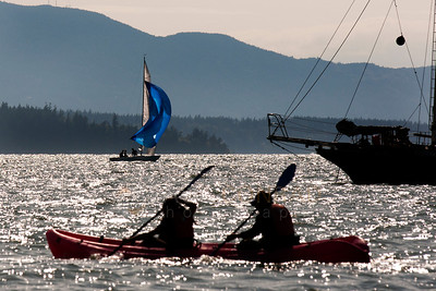© Paul Conrad/Pablo Conrad Photography - Watercraft of all types negotiate Bellingham Bay at Boulevard Park on Sunday afternoon July 1, 2012.