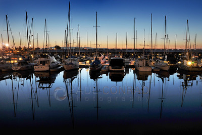 © Paul Conrad/Pablo Conrad Photography - Boats at the Everett Marina settle for a still and chilly night north of Seattle, Wash.