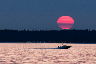 © Paul Conrad/Pablo Conrad Photography  A boat zooms across as the sun sets over Bellingham Bay in Bellingham, Wash.