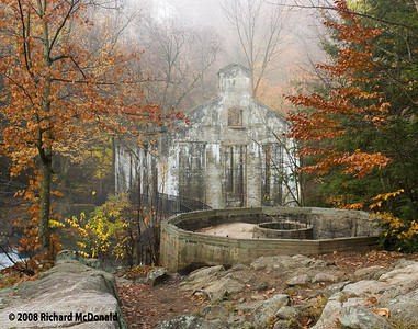 The Willson Carbide Mill in the Gatineau Hills on a foggy autumn morning