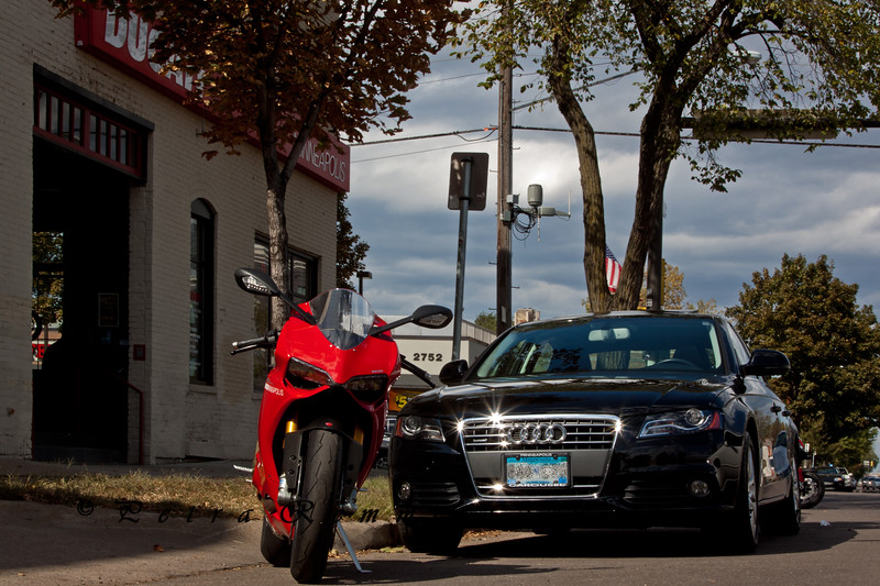"Audi A4 and Ducati 1199 Piangale at <a class=""url"" href=""http://www.ducatiminneapolis.com/"" target=""_blank"">Ducati Minneapolis</a>"