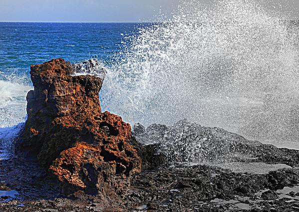 Water breaking on the lava rocks in Kauai, #0103