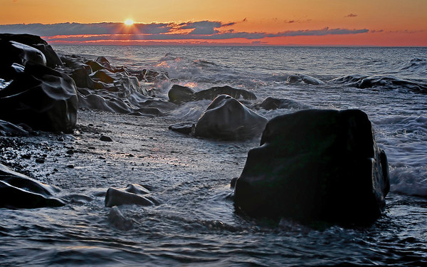 Lake Superior rocky shores in front of the Cascade River north of Lutsen, Mn. #0323