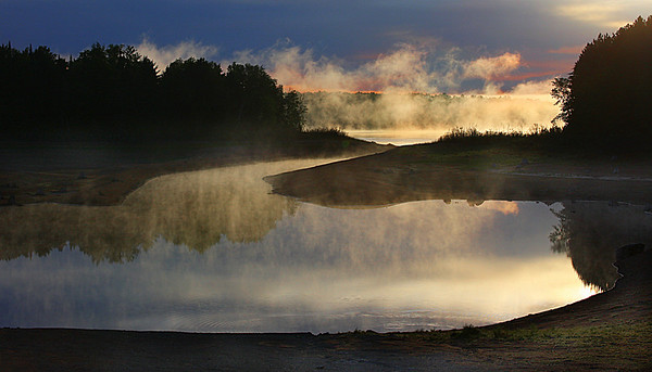 Sunrise at the Bond Falls Flowage (reservoir) on the Ontonagon River in the Upper Peninsula of Michigan; #0127