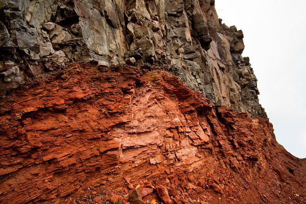 Rock strata of sandstone and granite, separating milleniums and water levels on the North Shore of Lake Superior, Minnesota, #0168
