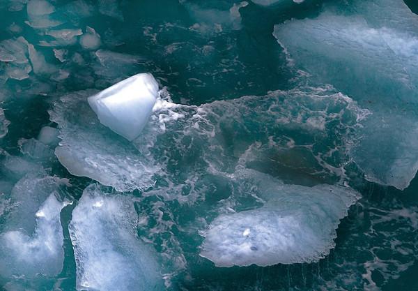 Glacial ice floating near the Hubbard Glacier, Alaska; #0143