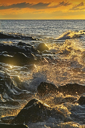 Sunrise over Lake Superior waves in front of the Cascade River north of Lutsen, Mn. #0319
