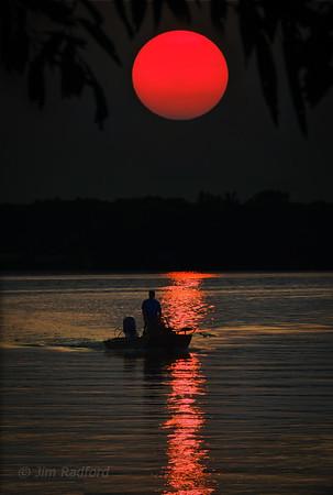 Setting Sun on Turtle Lake, Mn. - 1797
