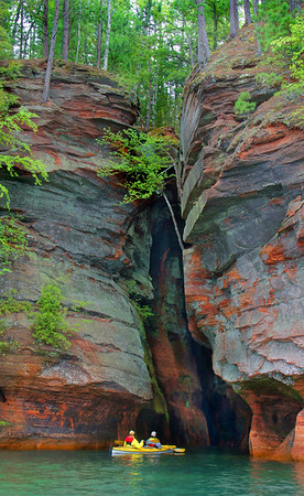 Red Cliff rocks of Lake Superior, near Big Sandy Bay and the Apostle Islands, #0045