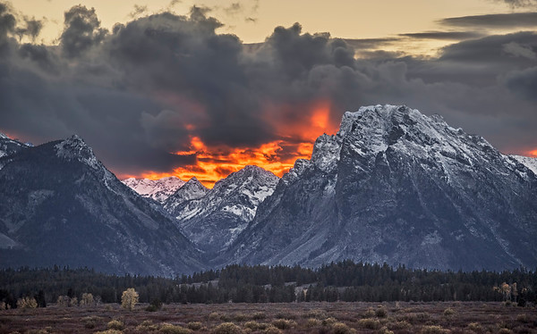 The peaks of the Teton mountain range, Jackson, Wyoming
