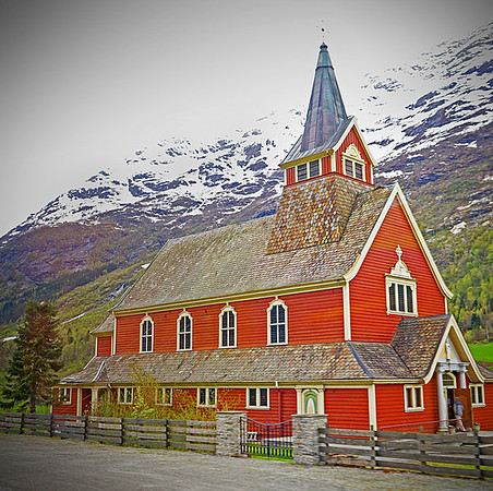 New church of Olden, Norway, built in 1934,  situated in the mouth of the Oldeelra river in the Oldedalen valley along the Nordford. #0374