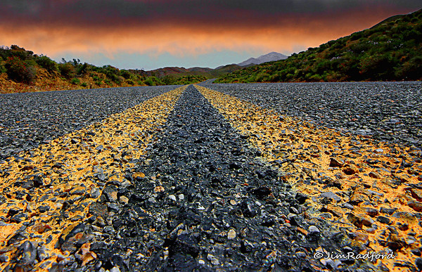 Aging Road in Death Valley on a very hot day, #0084