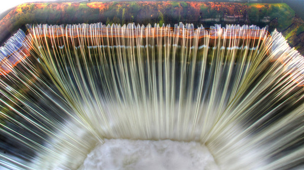 Man-made waterfalls near Balsam Lake, Wisconsin feeding the Apple River, #0108