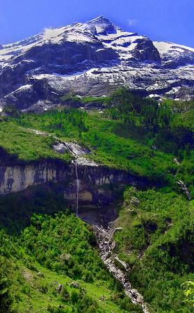 Waterfalls from a glacial mountain in the Swiss Alps, #0119