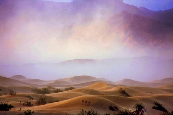 Sandstorm in Mesquitte Sand Dunes in Death Valley, #0114