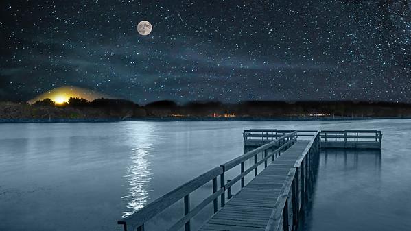 Corn Moon over Island Lake