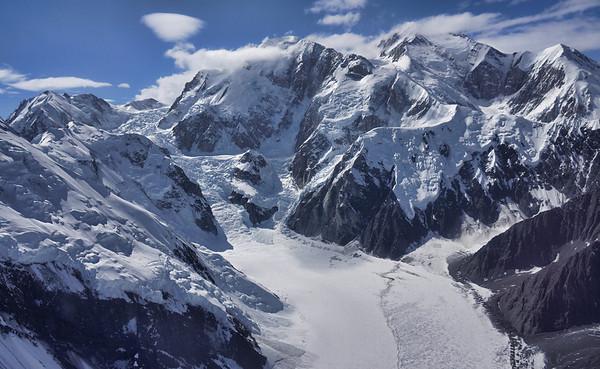 Aerial view of high glacial flows at McKinley, Alaska, #0431