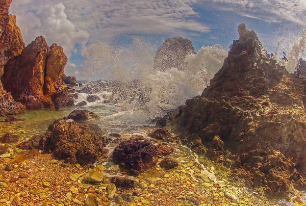 The prehistoric volcanic shoreline along the mangroves of Cas Cay lagoon on St. Thomas, Virgin Islands; #0213