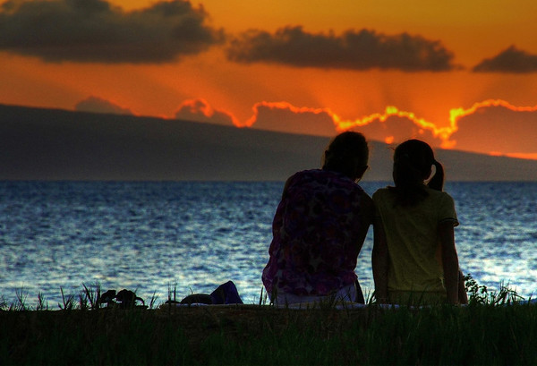 Sunset at Kaanapali Beach near the Starwood Resort, Maui, #0092