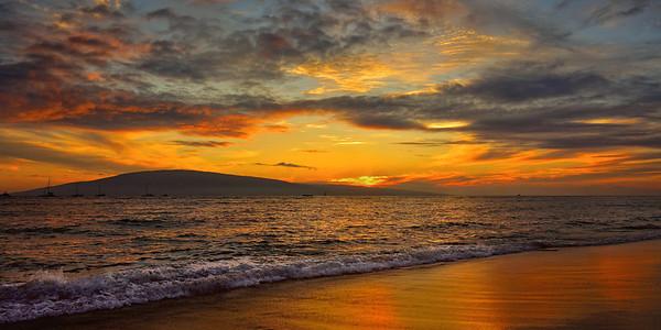Maui sunset looking at Lanei, Hawaii, #0655