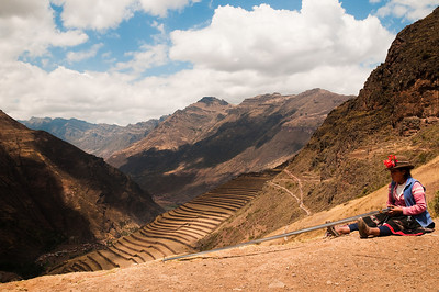 Andean woman working in the Sacred Valley