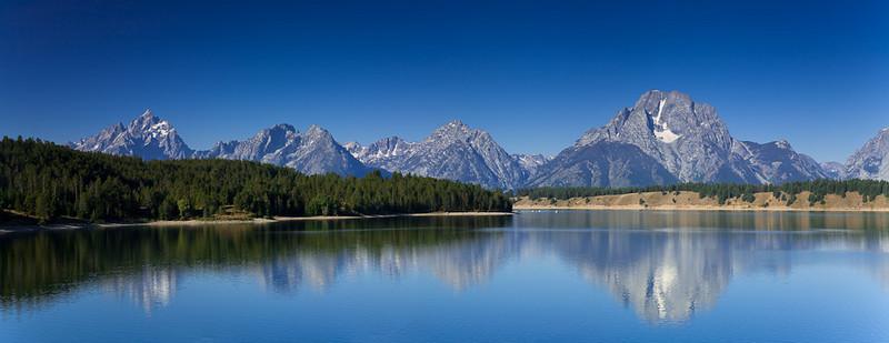 Reflection of Grand Tetons on Jackson Lake