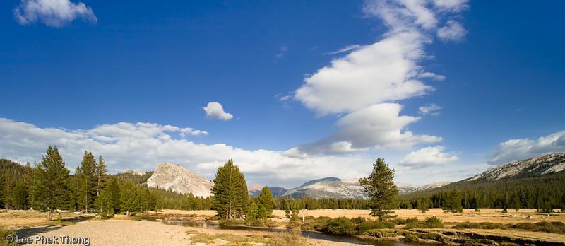 Panoramic view of Tuolumne Meadows, Lembert Dome<br /> Tuolumne Meadows, Yosemite National Park, California, USA.
