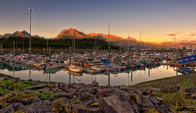 Sunrise at the Valdez Marina