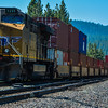 Union Pacific Freight train passing through Truckee in Tahoe