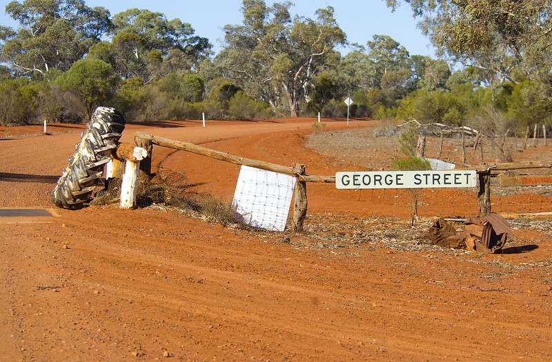 George Street, Sydney.... Actually Karwarn, south of Cobar, NSW. Boundary to Yathong NR, 13/7/2002